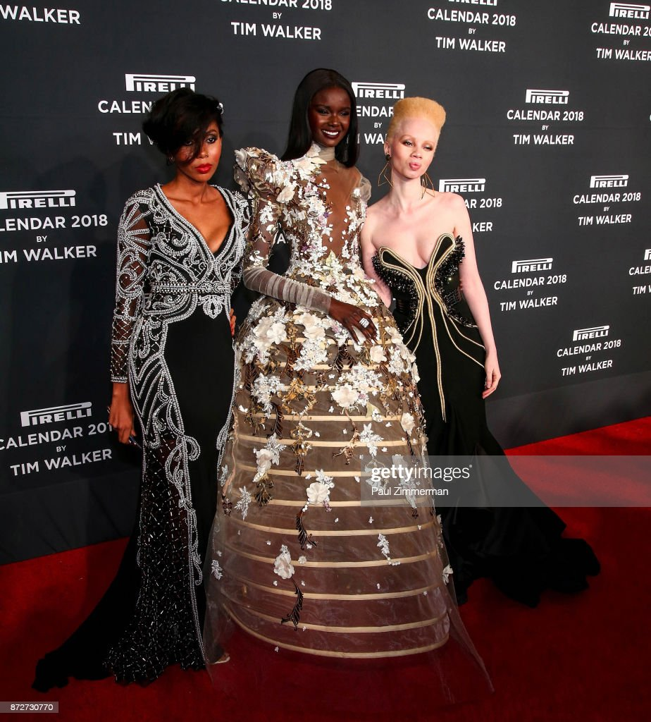 Jaha Dukureh, Duckie Thot and Thando Hopa attend Pirelli Calendar 2018 Launch Gala at The Manhattan Center on November 10, 2017 in New York City.
