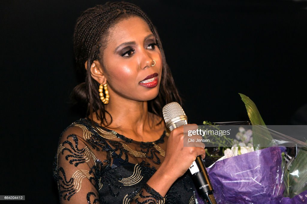 Jaha Dukureh speaks to the audience after the world premiere of the documentary 'Jaha's Promise' in the Grand Theatre during the opening of Copenhagen Documentary Film Festival (CPH:DOX) on March 16, 2017 in Copenhagen, Denmark. 'Jaha's Promise' is a documentary with Jaha Dukureh playing herself, about a young woman's fight for her own body and about having the courage to confront her father, politicians and the society at large in order to change the widespread practice of female circumcision (FGM) in Gambia. The documentary is directed and produced by Irish Patrick Farelly and Kate O'Callaghan.