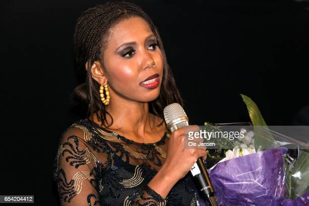 Jaha Dukureh speaks to the audience after the world premiere of the documentary 'Jaha's Promise' in the Grand Theatre during the opening of...