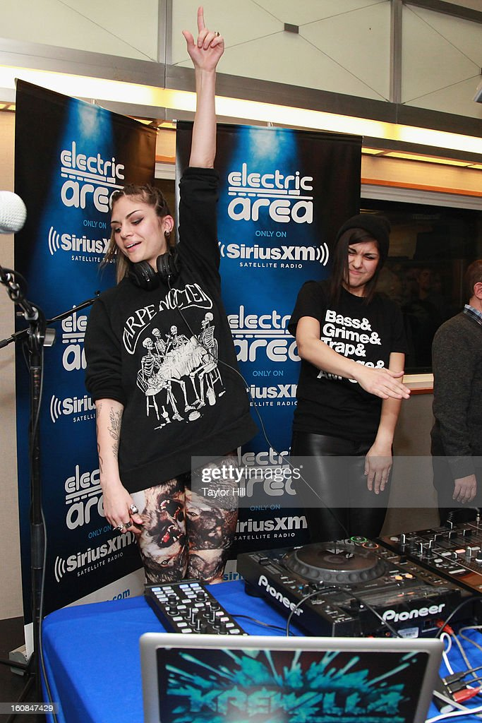 Jahan Yousaf and Yasmine Yousaf of Krewella perform on a special broadcast of 'Electric Aquarium' on SiriusXM's 'Electric Area' at SiriusXM Studios on February 6, 2013 in New York City.