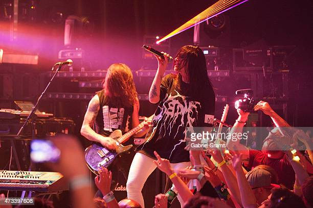 Jahan Yousaf and Yasmine Yousaf of Krewella perform on stage during the Las Vegas Presents Krewella Powered By Pandora at Park West on on May 14 2015...