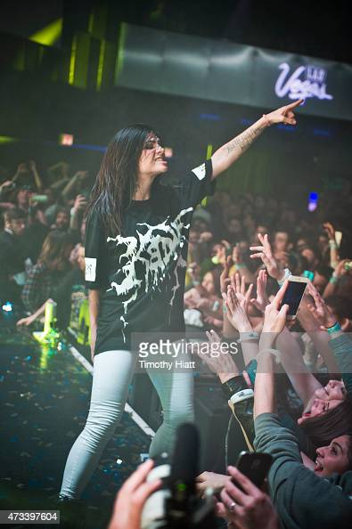Jahan Yousaf of Krewella performs as Las Vegas Presents Krewella Powered By Pandora at the Park West on May 14 2015 in Chicago Illinois