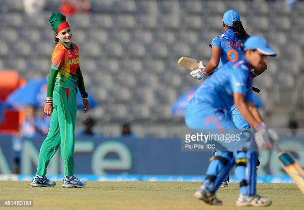 Jahanara Alam of Bangladesh look back after claiming the wicket Harmanpreet Bhullar of India during the ICC Women's World Twenty20 match between...