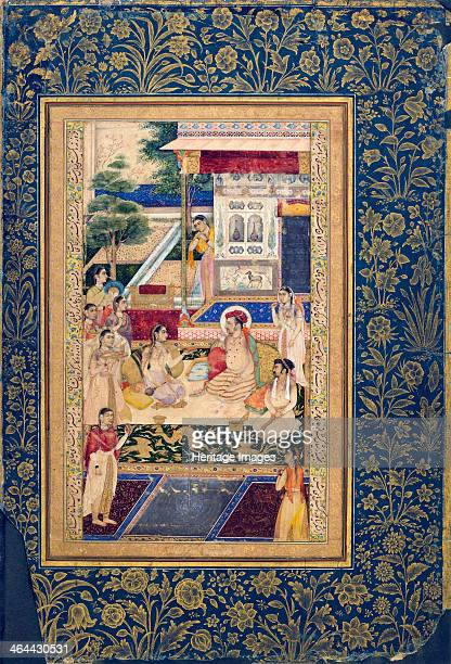 Jahangir and Prince Khurram with Nur Jahan c16241625 Indian miniature painting Nur Jahan was the twentieth and favourite wife of the Mughal emperor...
