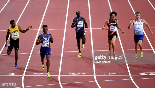 Jaheel Hyde of Jamaica TJ Holmes of the United States Mamadou Kasse Hann of France Takatoshi Abe of Japan and Jack Green of Great Britain compete in...