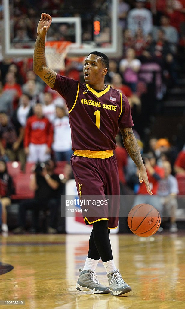 Jahii Carson #1 of the Arizona State Sun Devils calls out to his teammates as he brings the ball up the court against the UNLV Rebels during their game at the Thomas & Mack Center on November 19, 2013 in Las Vegas, Nevada. Carson had 40 points to lead Arizona State to an 86-80 win.