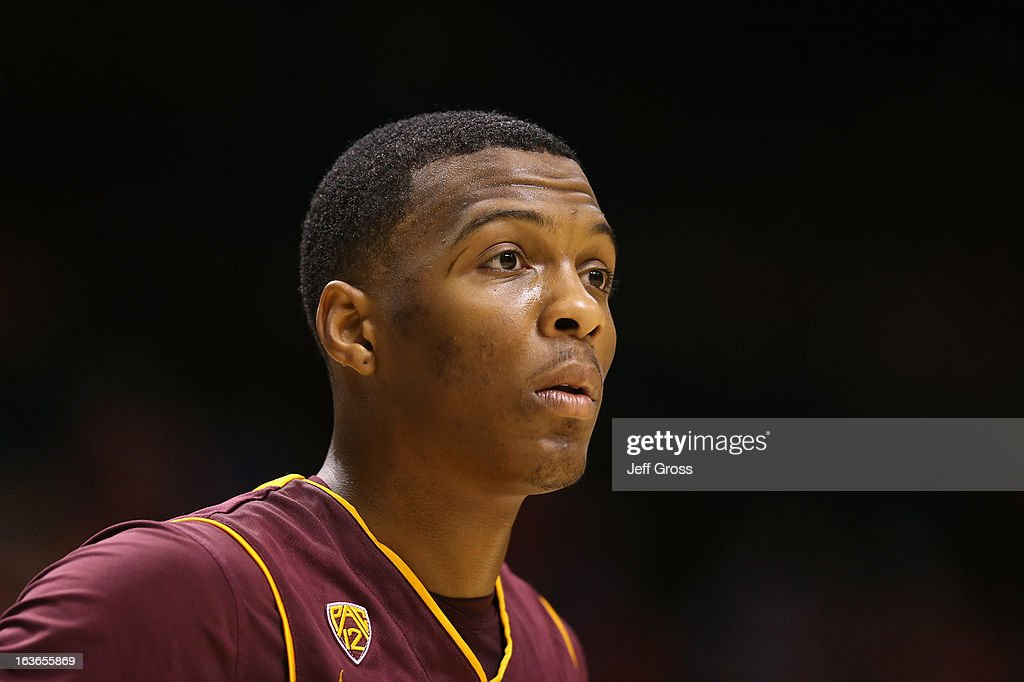 Jahii Carson #1 of the Arizona State Sun Devils looks on against the Stanford Cardinal during the first round of the Pac 12 Tournament at the MGM Grand Garden Arena on March 13, 2013 in Las Vegas, Nevada.