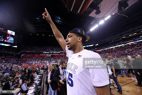 Jahlil Okafor of the Duke Blue Devils celebrates after defeating the Wisconsin Badgers during the NCAA Men's Final Four National Championship at...
