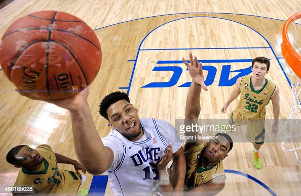 Jahlil Okafor of the Duke Blue Devils drives to the basket against the Notre Dame Fighting Irish during the semifinals of the 2015 ACC Basketball...