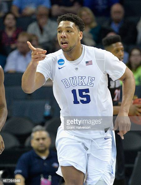Jahlil Okafor of the Duke Blue Devils reacts after a play against the San Diego State Aztecs during the third round of the 2015 NCAA Men's Basketball...