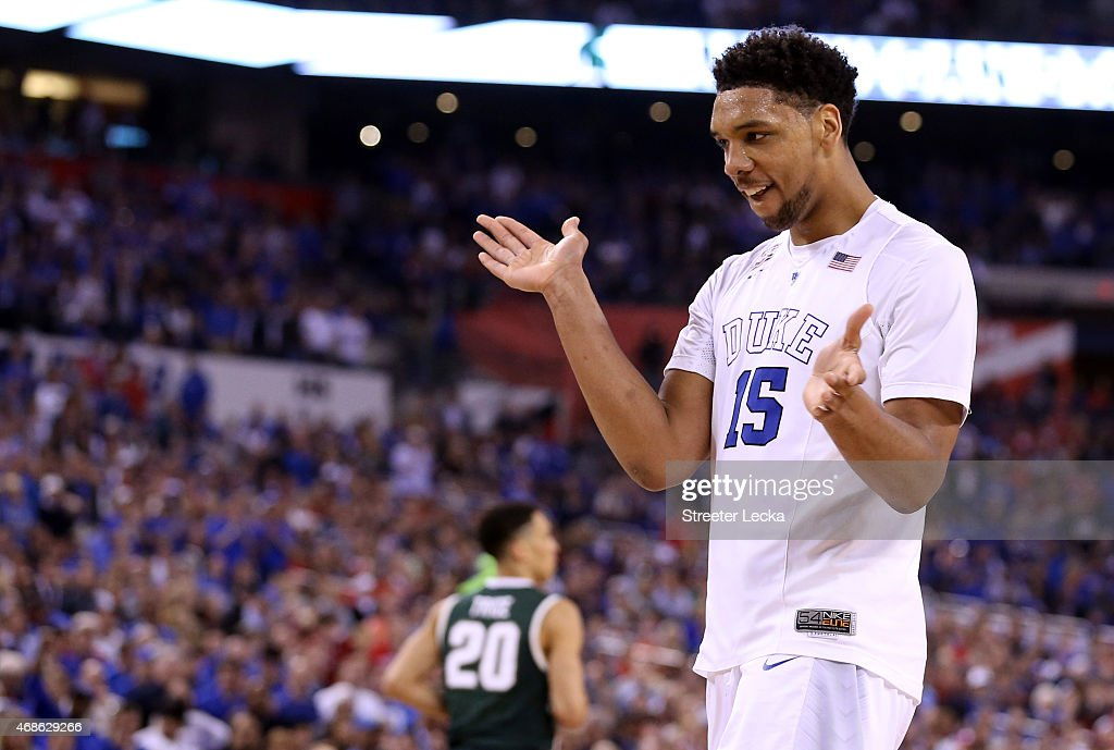 Jahlil Okafor of the Duke Blue Devils reacts after a play in the second half against the Michigan State Spartans during the NCAA Men's Final Four...
