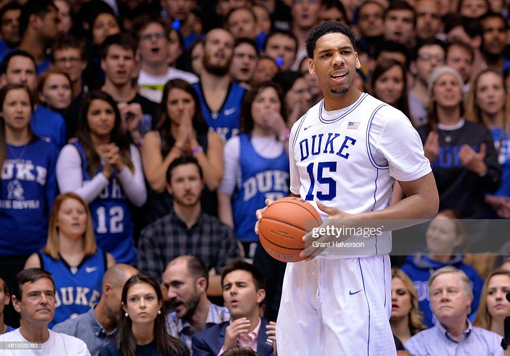Jahlil Okafor of the Duke Blue Devils reacts after being called for a foul during a loss to the Miami Hurricanes at Cameron Indoor Stadium on January...