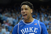Jahlil Okafor of the Duke Blue Devils reacts after scoring against the North Carolina Tar Heels during their game at the Dean Smith Center on March 7...