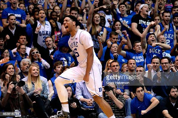 Jahlil Okafor of the Duke Blue Devils reacts during a win against the North Carolina Tar Heels at Cameron Indoor Stadium on February 18 2015 in...