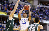 Jahlil Okafor of the Duke Blue Devils shoots the ball during the game against the Michigan State Spartans in the State Farm Champions Classic at...