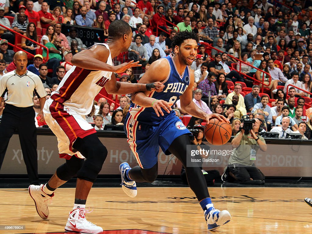 Miami heat basket - Jahlil Okafor 8 Of The Philadelphia 76ers Drives To The Basket Against The Miami Heat