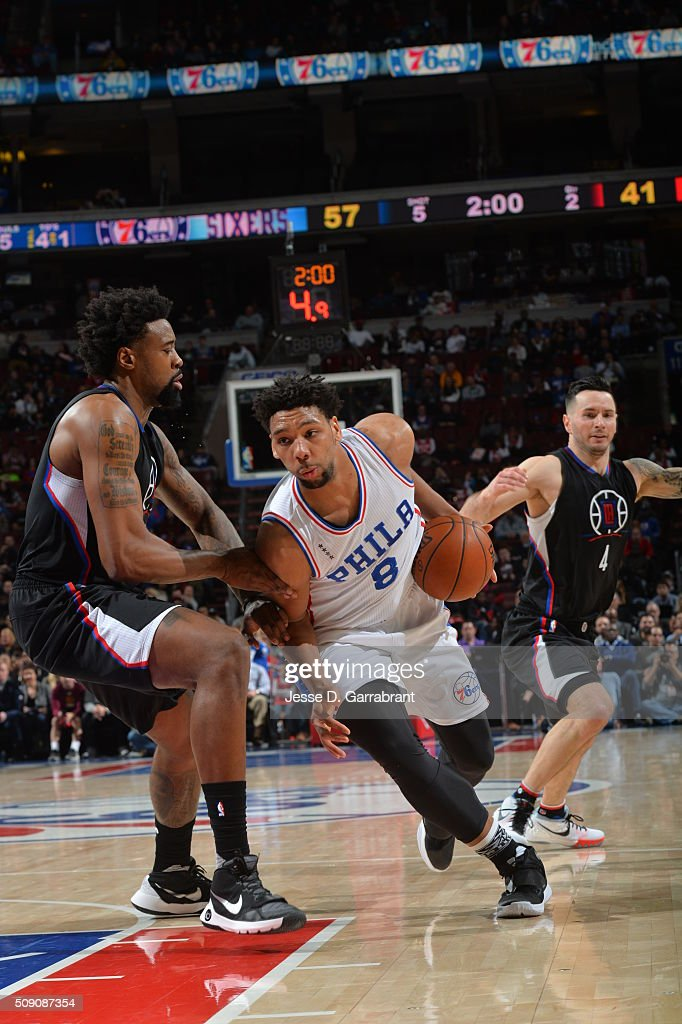 <a gi-track='captionPersonalityLinkClicked' href=/galleries/search?phrase=Jahlil+Okafor&family=editorial&specificpeople=9632986 ng-click='$event.stopPropagation()'>Jahlil Okafor</a> #8 of the Philadelphia 76ers drives to the basket against the Los Angeles Clippers at Wells Fargo Center on February 8, 2016 in Philadelphia, Pennsylvania