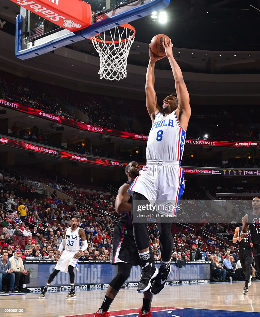 <a gi-track='captionPersonalityLinkClicked' href=/galleries/search?phrase=Jahlil+Okafor&family=editorial&specificpeople=9632986 ng-click='$event.stopPropagation()'>Jahlil Okafor</a> #8 of the Philadelphia 76ers goes up for the dunk against the Los Angeles Clippers at Wells Fargo Center on February 8, 2016 in Philadelphia, Pennsylvania