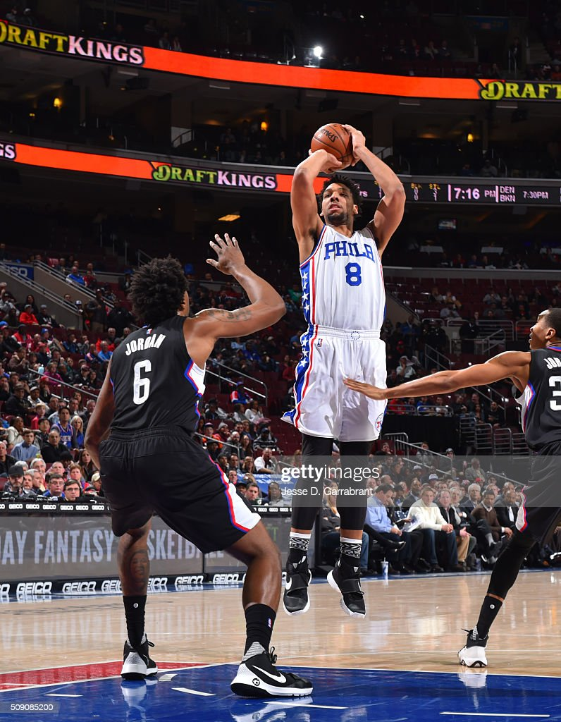<a gi-track='captionPersonalityLinkClicked' href=/galleries/search?phrase=Jahlil+Okafor&family=editorial&specificpeople=9632986 ng-click='$event.stopPropagation()'>Jahlil Okafor</a> #8 of the Philadelphia 76ers shoots the ball against the Los Angeles Clippers at Wells Fargo Center on February 8, 2016 in Philadelphia, Pennsylvania
