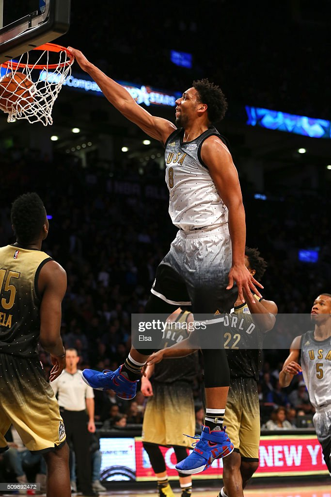 Jahlil Okafor #8 of the Philadelphia Sixers and the United States team dunks in the second half against the World team during the BBVA Compass Rising Stars Challenge 2016 at Air Canada Centre on February 12, 2016 in Toronto, Canada.