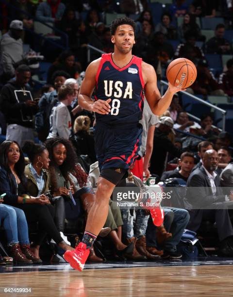 Jahlil Okafor of the USA Team dribbles the ball during the BBVA Compass Rising Stars Challenge as part of 2017 AllStar Weekend at the Smoothie King...