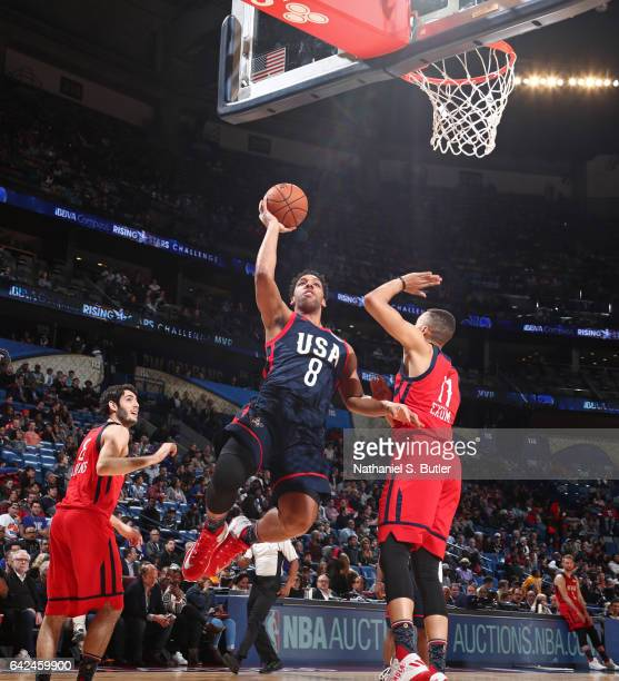 Jahlil Okafor of the USA Team drives to the basket during the BBVA Compass Rising Stars Challenge as part of 2017 AllStar Weekend at the Smoothie...