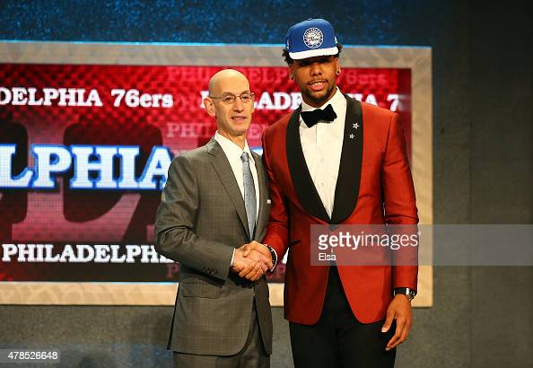 Jahlil Okafor poses with Commissioner Adam Silver after being selected third overall by the Philadelphia 76ers in the First Round of the 2015 NBA...