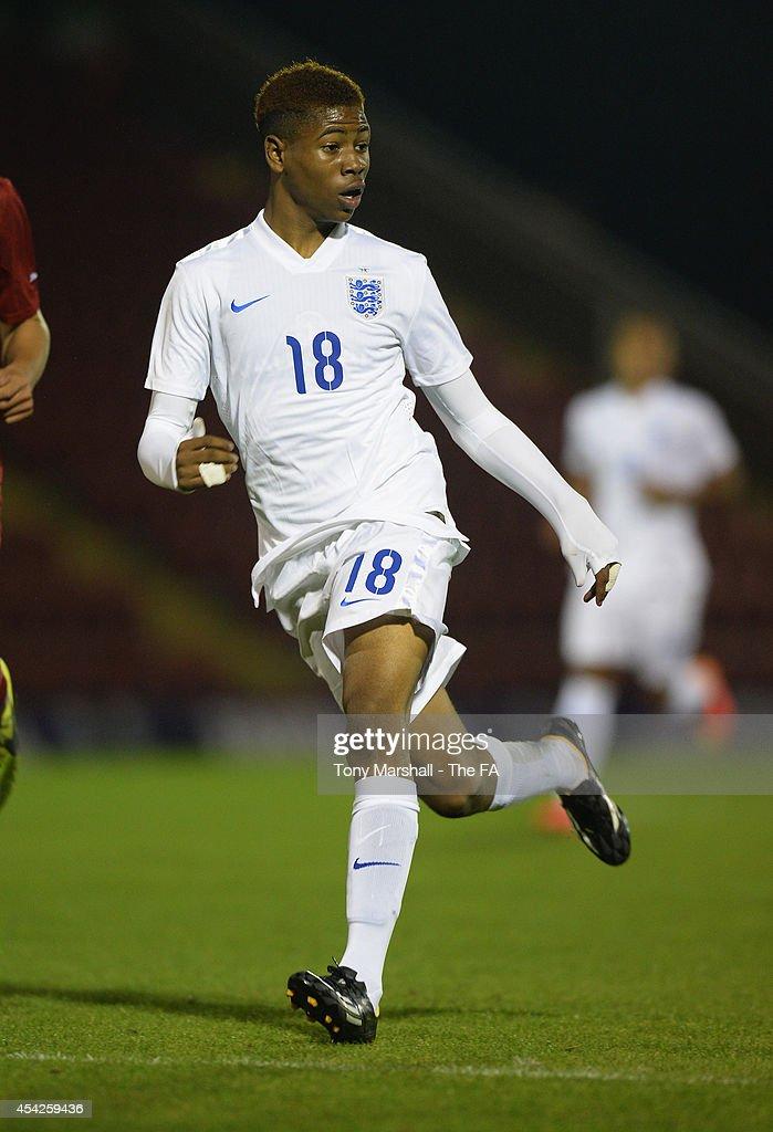 Jahmal Hector- Ingram of England during the Under 17 International match between England U17 and Czech Republic U17 at Aggborough Stadium on August 27, 2014 in Kidderminster, England.