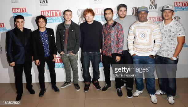 Jahmene Douglas Jamie Cullum Plan B Ed Sheeran Amir Amor Kesi Dryden DJ Locksmith and Piers Agget attends the Unity concert in memory of Stephen...