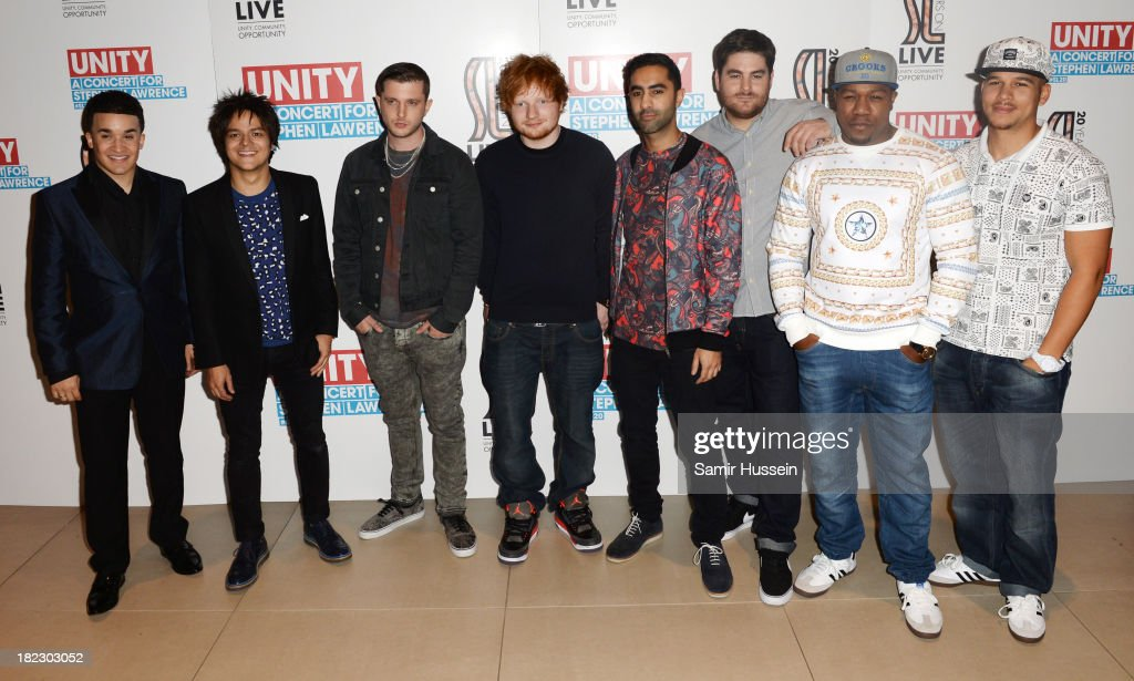 Jahmene Douglas, Jamie Cullum, Plan B, Ed Sheeran, Amir Amor, Kesi Dryden, DJ Locksmith and Piers Agget attends the Unity concert in memory of Stephen Lawrence at O2 Arena on September 29, 2013 in London, England.