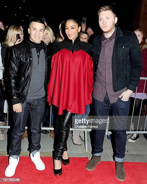 Jahmene Douglas Nicole Scherzinger and James Arthur attend a press conference ahead of the X Factor final this weekend at Manchester Conference...