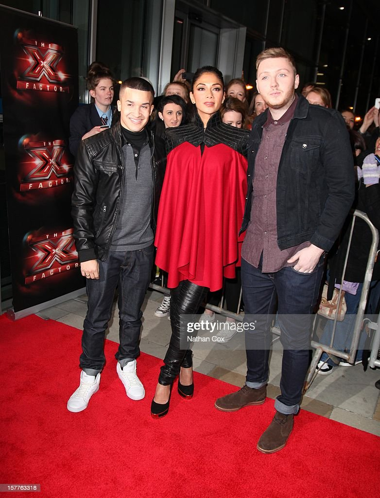 Jahmene Douglas, <a gi-track='captionPersonalityLinkClicked' href=/galleries/search?phrase=Nicole+Scherzinger&family=editorial&specificpeople=678971 ng-click='$event.stopPropagation()'>Nicole Scherzinger</a> and James Arthur attend a press conference ahead of the X Factor final this weekend at Manchester Conference Centre on December 6, 2012 in Manchester, England.