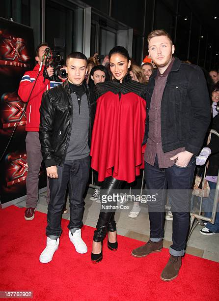 Jahmene Douglas Nicole Scherzinger and James Arthur attends a press conference ahead of the X Factor final this weekend at Manchester Conference...