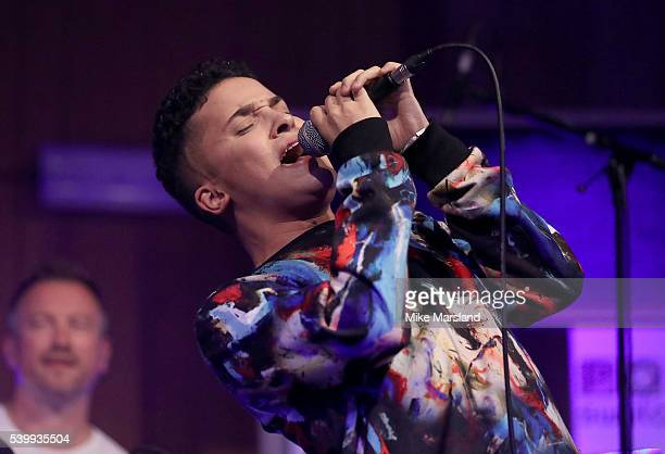 Jahmene Douglas performs on stage as GQ and One For The Boys with Swatch host the London Collections Men closing night karaoke at Abbey Road Studios...