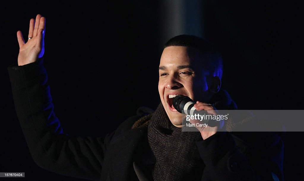 Jahmene Douglas performs on stage on December 5 2012 in Swindon England The X Factor finalist helped switch on the Christmas lights in his home town...