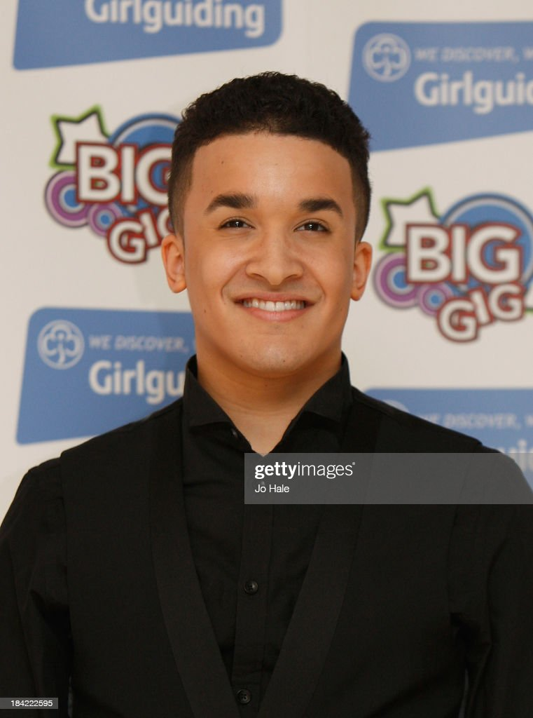 Jahmene Douglas poses backstage during the Girlguiding 'Big Gig 2013' at Wembley Arena on October 12 2013 in London England
