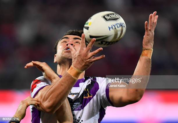 Jahrome Hughes of the Storm catches the ball during the round 16 NRL match between the Sydney Roosters and the Melbourne Storm at Adelaide Oval on...