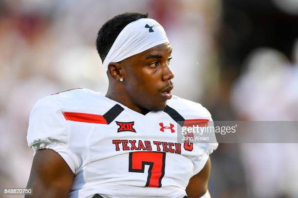 Jah'Shawn Johnson of the Texas Tech Red Raiders on the field before the game between the Texas Tech Red Raiders and the Arizona State Sun Devils on...