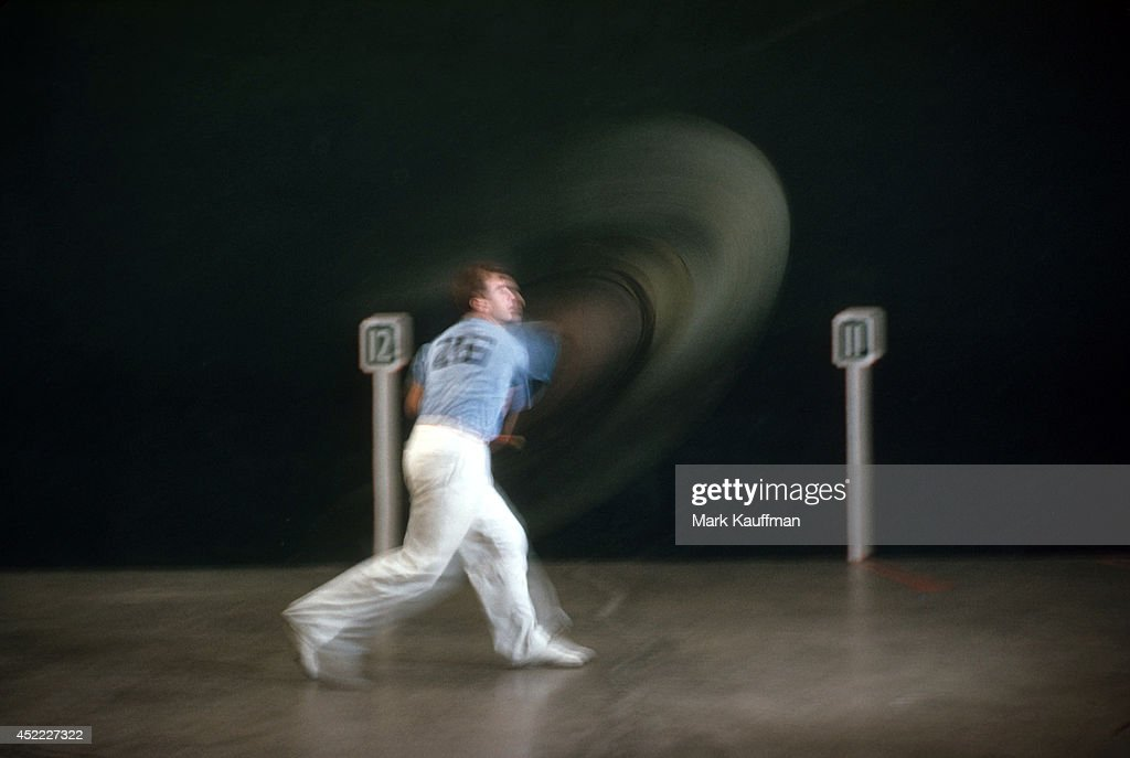 Blurred view portrait of Urcola in action during photo shoot at Biscayne Fronton. Mark Kauffman X1083 )