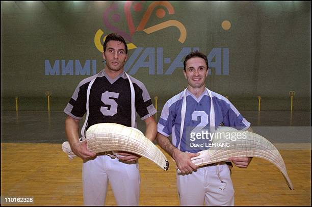 Jai Alai the speediest sport ball in the world in Miami United States on February 19 2001 French Basque players Eric Irastorza and Daniel Christian...