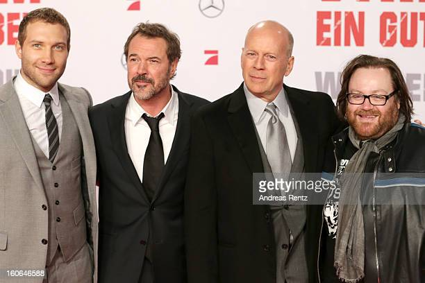 Jai Courtney Sebastian Koch Bruce Willis and John Moore attend 'Die Hard Ein Guter Tag Zum Sterben' Germany Premiere at Cinestar Potsdamer Platz on...