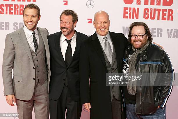 Jai Courtney Sebastian Koch Bruce Willis and John Moore attend 'Die Hard Ein Guter Tag Zum Sterben' Germany Premiere at Cinestar Potsdamer Platz on...