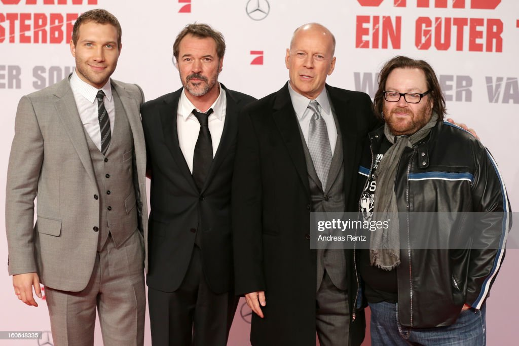Jai Courtney, Sebastian Koch, Bruce Willis and John Moore attend 'Die Hard - Ein Guter Tag Zum Sterben' Germany Premiere at Cinestar Potsdamer Platz on February 4, 2013 in Berlin, Germany.