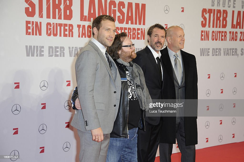 Jai Courtney, Sebastian Koch, Bruce Willis and John Moore attend the premiere of 'Die Hard - Ein Guter Tag Zum Sterben' at Sony Center on February 4, 2013 in Berlin, Germany.