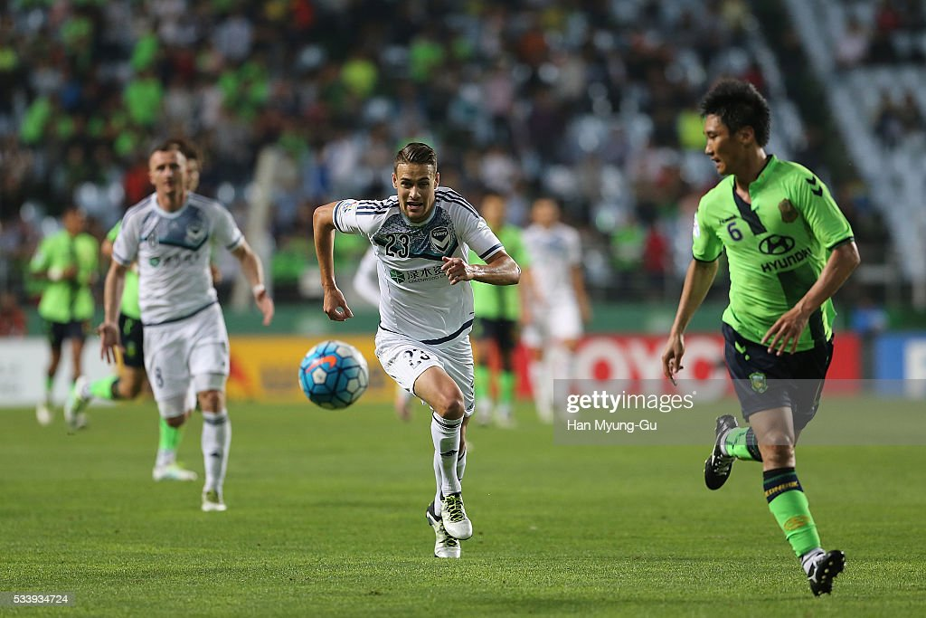 Jai Ingham of Melbourne Victory action during the AFC Champions League Round Of 16 match between Jeonbuk Hyundai Motors and Melbourne Victory at Jeonju World Cup Stadium on May 24, 2016 in Jeonju, South Korea.