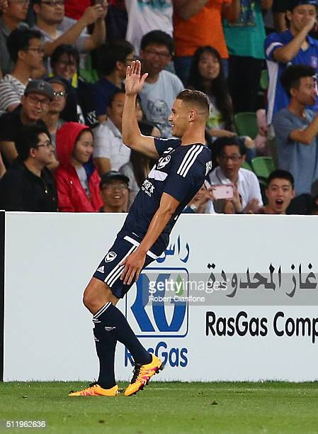 Jai Ingham of Melbourne Victory celebrates after scoring a goal during the AFC Asian Champions League match between Melbourne Victory and Shanghai...