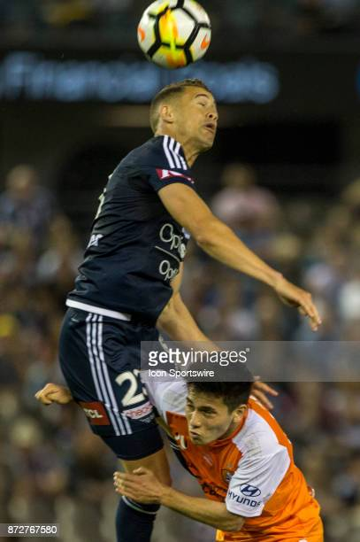 Jai Ingham of Melbourne Victory heads the ball in a contest with Joe Caletti of the Brisbane Roar during Round 6 of the Hyundai ALeague Series...