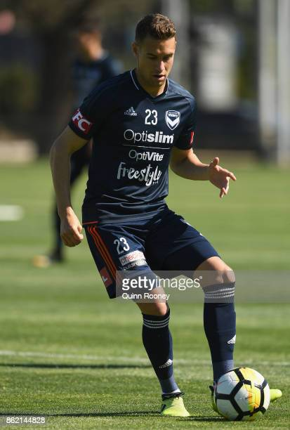 Jai Ingham of the Victory passes the ball during a Melbourne Victory ALeague training session at Gosch's Paddock on October 17 2017 in Melbourne...