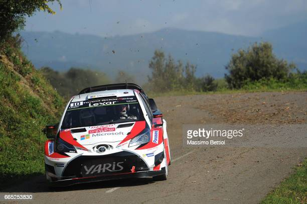 Jai Matti Latvala of Finland and Mikka Anttila of Finland compete in their Toyota Gazoo Racing WRT Toyota Yaris WRC during the Shakedown of the WRC...