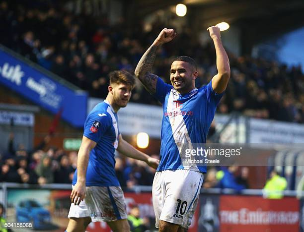 Jai Reason of Eastleigh celebrates his team's first goal during the Emirates FA Cup third round match between Eastleigh and Bolton Wanderers at...